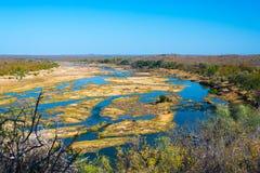 Paysage de rivière d'Olifants, scénique et coloré avec la faune en parc national de Kruger, destination célèbre de voyage en Afri image libre de droits