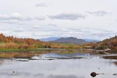 Paysage de rivière de désert en automne Photographie stock libre de droits