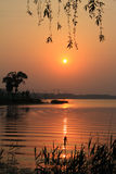 Paysage de rivière le soir Photographie stock