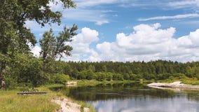 Paysage de rivière ou de lac avec le ciel nuageux L'eau calme Forest On Other Side Nature de l'Europe de l'Est banque de vidéos