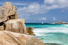 Paysage de roche de granit, La Digue, Seychelles Image libre de droits