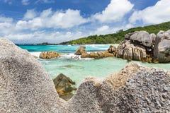 Paysage de roche de granit, La Digue, Seychelles Images libres de droits