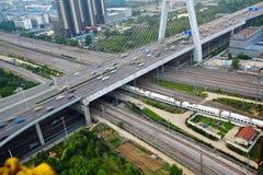 Paysage de route de pont de viaduc de ville Images stock