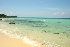 Paysage de sable de Coral Sea Tropical Wild Beach de c?te image libre de droits