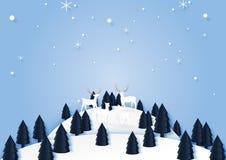 Paysage de saison d'hiver avec les cerfs communs famille et la forêt de pin pour moi illustration stock