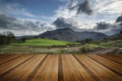 Paysage de secteur de lac avec le ciel orageux au-dessus du fie d'anf de campagne Photo libre de droits