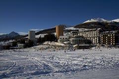Paysage de Sestrières en hiver Photos libres de droits