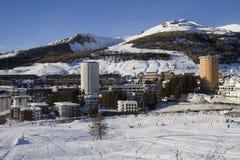 Paysage de Sestrières en hiver Photographie stock
