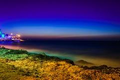 Paysage de soirée d'océan d'été Image stock