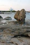 Paysage de soirée en Chypre sur le bord de la mer Photos stock
