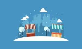 Paysage de stalle de rue avec le backgroud de ville Images stock