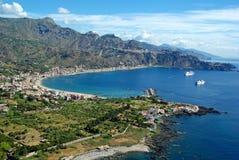 Paysage de Taormina, Sicile, Italie Images libres de droits