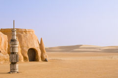 Paysage de Tataouine sur un fond des dunes de sable. Images stock