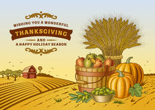 Paysage de thanksgiving de vintage illustration de vecteur