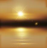 Paysage de vecteur avec le coucher du soleil et la mer illustration de vecteur