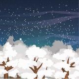 Paysage de vecteur d'hiver avec les dessus des arbres couverts de neige et d'un ciel nocturne étoilé Photos libres de droits