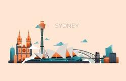 Paysage de vecteur de point de repère de voyage d'Australie avec l'opéra de Sydney et les bâtiments célèbres illustration stock