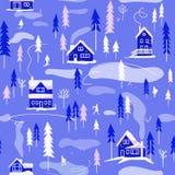 Paysage de village d'hiver Dirigez la configuration sans joint illustration stock