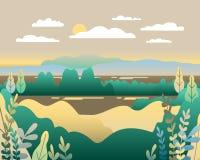 Paysage de village dans l'illustration plate à la mode de vecteur de style Moun illustration libre de droits