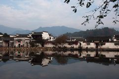 Paysage de village de Hongcun Photos libres de droits