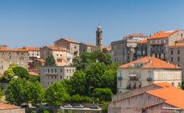 Paysage de ville antique Sartene, Corse Images stock