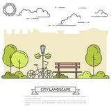 Paysage de ville avec le banc, bicyclette dans schéma Central Park Photos stock