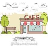 Paysage de ville avec le banc, café dans schéma Central Park Photo libre de droits