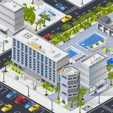 Paysage de ville avec le stationnement de piscines et de voiture d'hôtels illustration stock