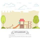 Paysage de ville avec le terrain de jeu dans schéma Central Park Photo libre de droits