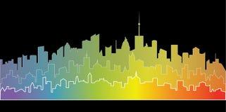 Paysage de ville d'arc-en-ciel illustration libre de droits