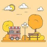 Paysage de ville d'automne avec le banc, camion de café dans Central Park Illustration de vecteur Schéma Photos stock