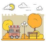 Paysage de ville d'automne avec le banc, camion de café dans Central Park Illustration de vecteur Schéma Images libres de droits