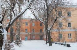 Paysage de ville d'hiver Images libres de droits