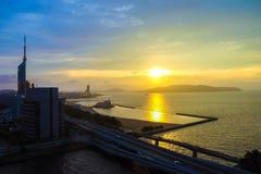 Paysage de ville de Fukuoka au Japon Images libres de droits