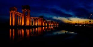 Paysage de ville de la Chine Tianjin -- Points de repère de Binhai Dagang -- Colonne de Rome de parc d'université Photos stock