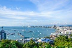 Paysage de ville de Pattaya, Thaïlande Photos stock