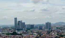 Paysage de ville du Malacca, pris d'en haut photographie stock libre de droits