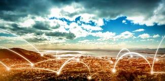Paysage de ville et de ciel nuageux Photo libre de droits