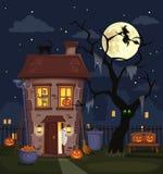 Paysage de ville de nuit de Halloween avec une maison hantée Illustration de vecteur illustration stock