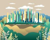 Paysage de ville plat Vecteur urbain d'illustration de conception dans simple illustration stock