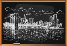 Paysage de ville sur le fond de tableau noir Photos stock