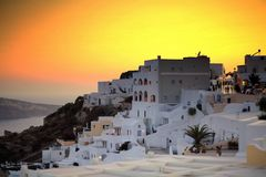 Paysage de viseur au santorini Photo stock