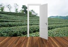 Paysage derrière la porte d'ouverture, 3D Photographie stock libre de droits