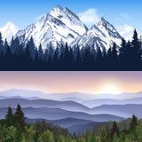 Paysage des bannières de montagnes illustration libre de droits