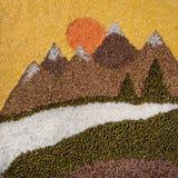 Paysage des céréales sèches : sarrasin, lentille, riz, haricots, maïs g Photographie stock libre de droits
