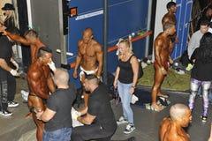 Paysage des coulisses d'un concours de bodybuilding et de forme physique Image stock