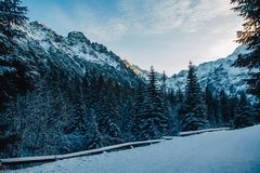 Paysage des crêtes couronnées de neige des montagnes rocheuses par temps ensoleillé Le concept de la nature et du voyage image libre de droits