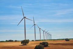 Paysage des moulins ? vent au printemps avec des champs pleins de couleurs brunes et vertes photographie stock