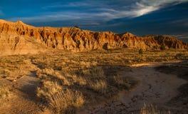 Paysage dramatique de désert de parc d'état de gorge de cathédrale au coucher du soleil au Nevada photographie stock libre de droits