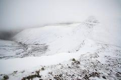 Paysage dramatique déprimé d'hiver de bas nuage en montagnes avec la neige Photographie stock